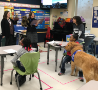 Students in Ms. Larissa's Elementary Classroom during a Second Step Lesson, with a special visit from Sparky and Sue